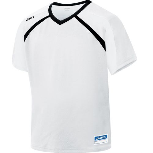 Mens ASICS Crosse Jersey Short Sleeve Technical Tops - White/Black XL