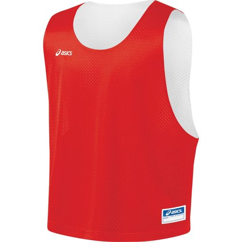Mens ASICS Lacrosse Scrimmage Vest Tanks Technical Tops - Red/White L/XL