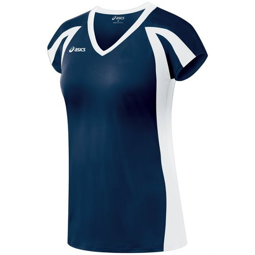 Womens ASICS Domain Jersey Short Sleeve Technical Tops - Navy/White XS