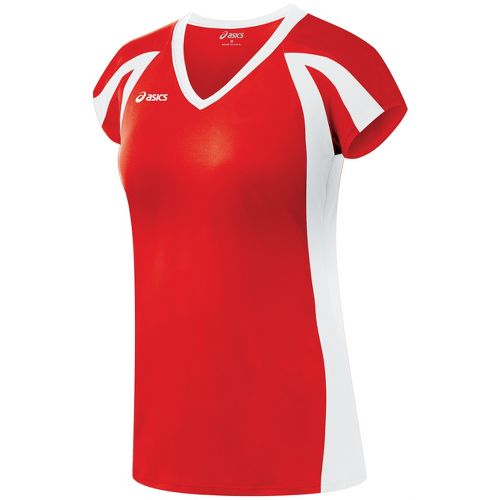 Womens ASICS Domain Jersey Short Sleeve Technical Tops - Red/White XL