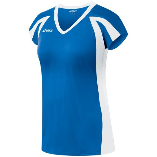 Womens ASICS Domain Jersey Short Sleeve Technical Tops - Royal/White XS