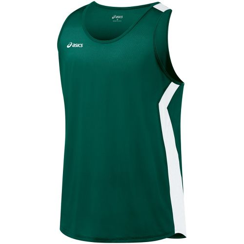 Mens ASICS Intensity Singlet Technical Tops - Forest/White S