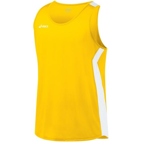 Mens ASICS Intensity Singlet Technical Tops - Gold/White L