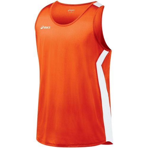 Mens ASICS Intensity Singlet Technical Tops - Orange/White M