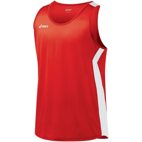 Mens ASICS Intensity Singlet Technical Tops - Red/White L