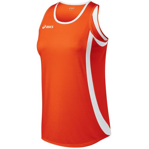 Womens ASICS Intensity Singlet Technical Tops - Orange/White M