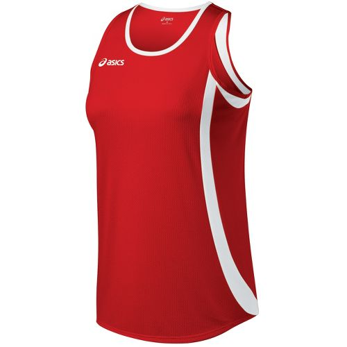 Womens ASICS Intensity Singlet Technical Tops - Red/White XXL