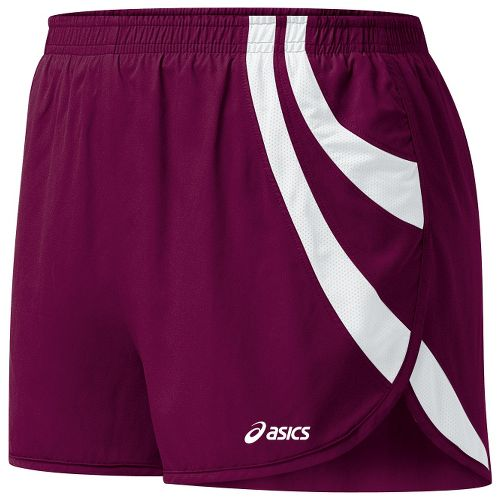 Womens ASICS Intensity 1/2 Split Shorts - Maroon/White L