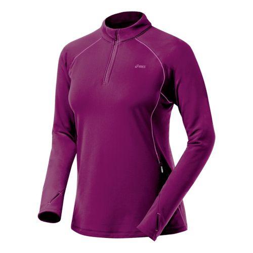 Womens ASICS Thermopolis XP Half Zip Long Sleeve 1/2 Zip Technical Tops - Magenta/Mullberry L ...