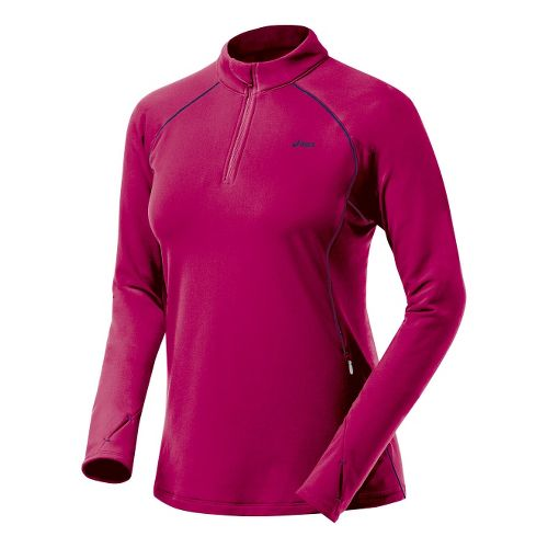 Womens ASICS Thermopolis XP Half Zip Long Sleeve 1/2 Zip Technical Tops - Sangria/Peacoat S ...