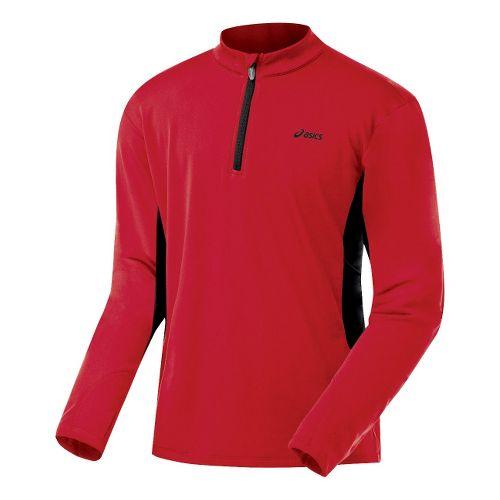 Mens ASICS Thermopolis XP Half Zip Long Sleeve 1/2 Zip Technical Tops - Sport Red/Black ...