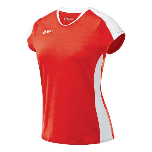Womens ASICS Striker Cap Sleeve Short Sleeve Technical Tops - Red/White XXL