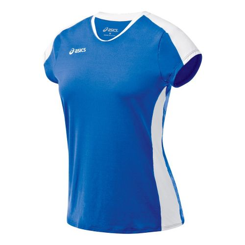 Womens ASICS Striker Cap Sleeve Short Sleeve Technical Tops - Royal/White XL