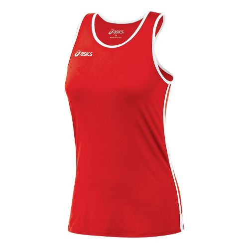 Womens ASICS Field Shimmel Tanks Technical Tops - Red/White M