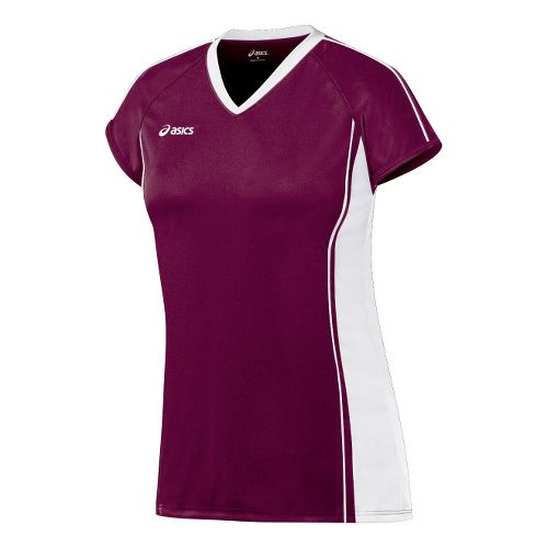 Womens ASICS Replay Jersey Short Sleeve Technical Tops - Cardinal/White XS