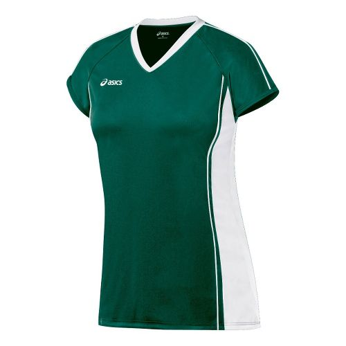 Womens ASICS Replay Jersey Short Sleeve Technical Tops - Forest/White L