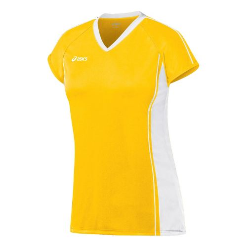 Womens ASICS Replay Jersey Short Sleeve Technical Tops - Gold/White L