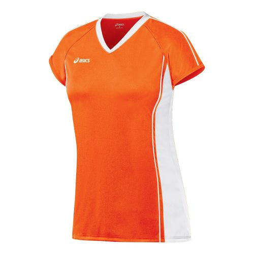 Womens ASICS Replay Jersey Short Sleeve Technical Tops - Orange/White M