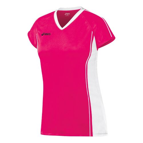 Womens ASICS Replay Jersey Short Sleeve Technical Tops - Rhapsody/White XL