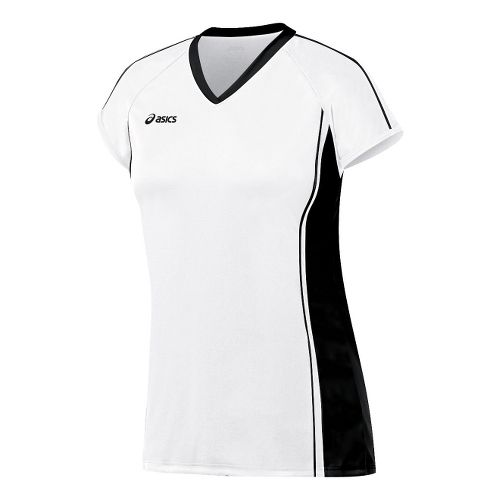 Womens ASICS Replay Jersey Short Sleeve Technical Tops - White/Black L