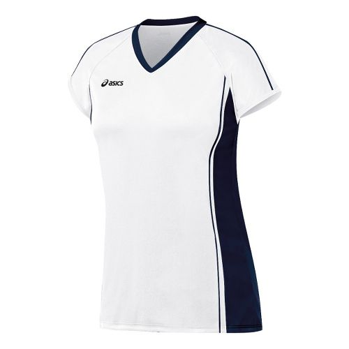 Womens ASICS Replay Jersey Short Sleeve Technical Tops - White/Navy XS