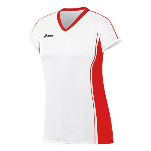 Womens ASICS Replay Jersey Short Sleeve Technical Tops - White/Red XL