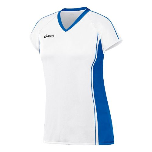 Womens ASICS Replay Jersey Short Sleeve Technical Tops - White/Royal S
