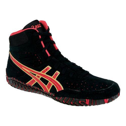 Mens ASICS Aggressor Wrestling Shoe - Black/Red 10.5