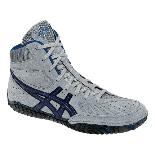 Mens ASICS Aggressor Wrestling Shoe - Grey/Royal Blue 10.5
