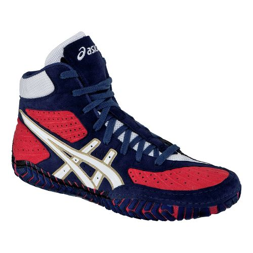 Mens ASICS Aggressor Wrestling Shoe - Navy/White 15