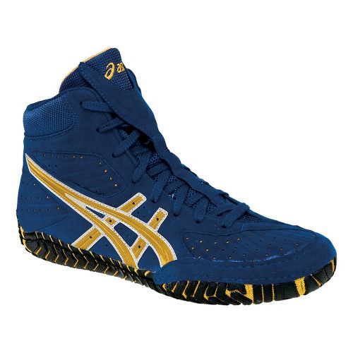 Mens ASICS Aggressor Wrestling Shoe - Royal/Gold 6.5