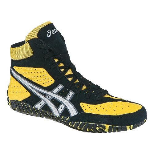 Mens ASICS Aggressor Wrestling Shoe - Yellow/Silver 6.5