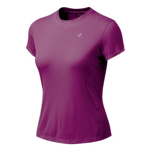 Womens ASICS Favorite Short Sleeve Short Sleeve Technical Tops - Magenta L