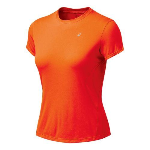 Womens ASICS Favorite Short Sleeve Short Sleeve Technical Tops - Orange Peel M