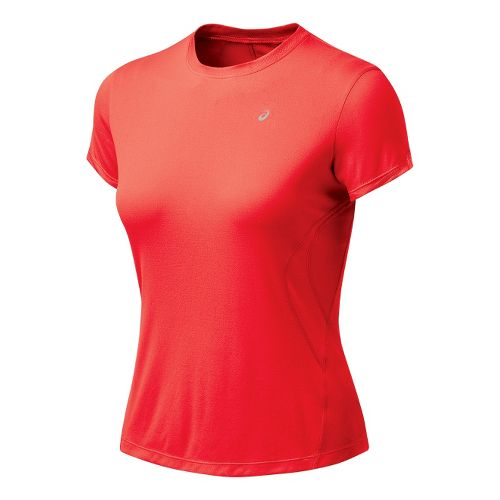 Womens ASICS Favorite Short Sleeve Short Sleeve Technical Tops - Ruby M
