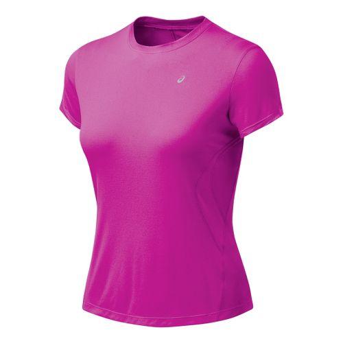 Womens ASICS Favorite Short Sleeve Short Sleeve Technical Tops - Rose Violet XL