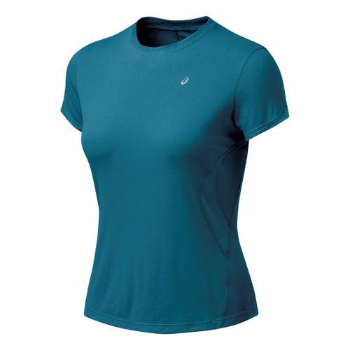 Womens ASICS Favorite Short Sleeve Short Sleeve Technical Tops - Zircon XS