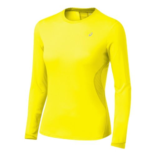 Womens ASICS Favorite Long Sleeve Long Sleeve No Zip Technical Tops - Canary M