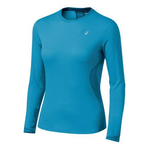 Womens ASICS Favorite Long Sleeve Long Sleeve No Zip Technical Tops - Lapis M