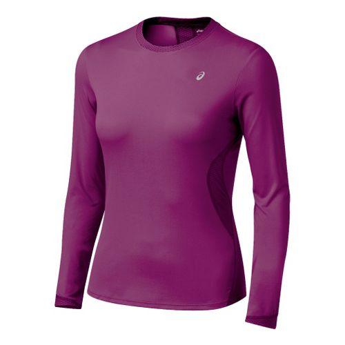 Womens ASICS Favorite Long Sleeve Long Sleeve No Zip Technical Tops - Magenta XS