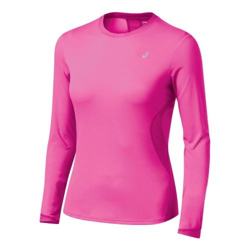 Womens ASICS Favorite Long Sleeve Long Sleeve No Zip Technical Tops - Neon Pink S ...