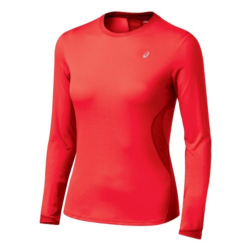 Womens ASICS Favorite Long Sleeve Long Sleeve No Zip Technical Tops - Ruby XS