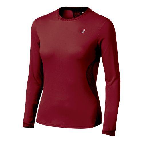 Womens ASICS Favorite Long Sleeve Long Sleeve No Zip Technical Tops - Rumba XL