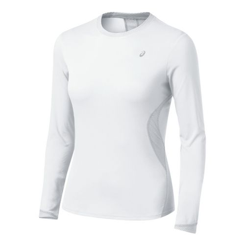 Womens ASICS Favorite Long Sleeve Long Sleeve No Zip Technical Tops - White XL