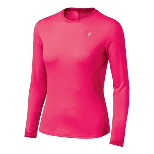 Womens ASICS Favorite Long Sleeve Long Sleeve No Zip Technical Tops - Watermelon XL
