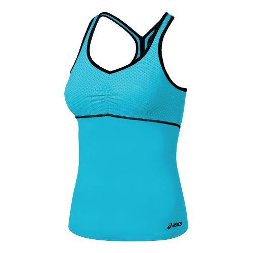 Womens ASICS Abby Shimmel Sport Top Bras - Aqua/Black XS