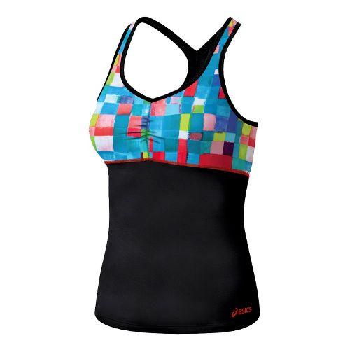 Womens ASICS Abby Shimmel Sport Top Bras - Tetris Print/Black XS