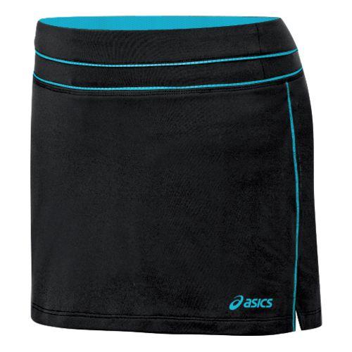 Womens ASICS Abby Skort Fitness Skirts - Black/Aqua XL