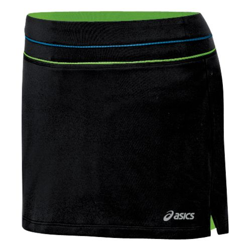Womens ASICS Abby Skort Fitness Skirts - Black/Greenery M
