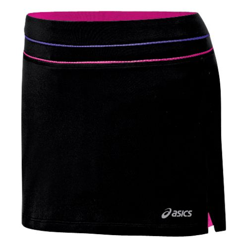 Womens ASICS Abby Skort Fitness Skirts - Black/Neon Pink XL